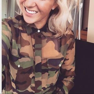 Semi-Sheer Camouflage Blouse